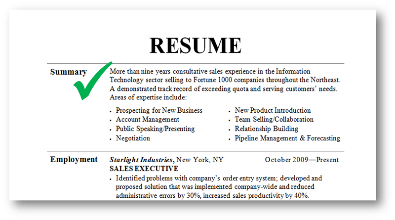 Good Resume Examples  Qualifications Summary For Resume