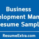 Business Development Manager Resume Sample