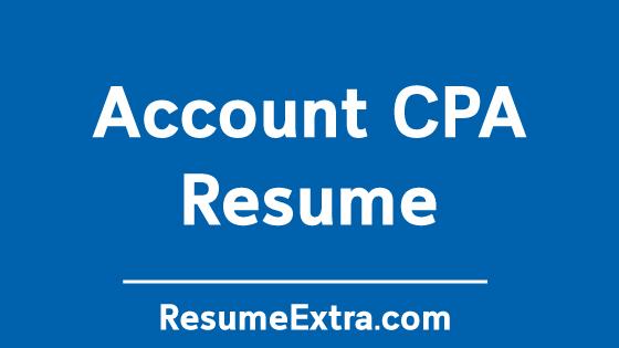 Account CPA Resume Sample