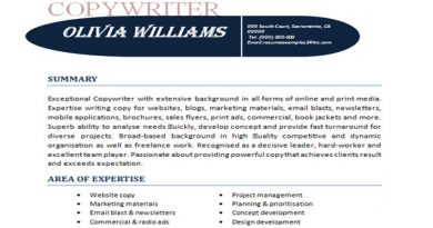 copywriter resume sample - Sample Ad Copywriter Resume