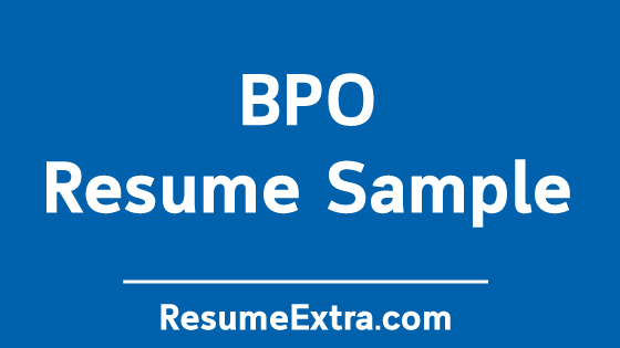 BPO Resume Sample