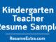 Kindergarten Teacher Resume Sample