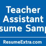 Teacher Assistant Resume Sample