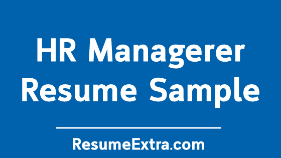 Free HR Manager Resume Example