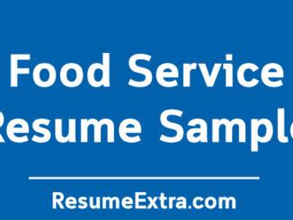 Food Service Resume Sample