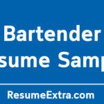 Awesome Bartender Resume Sample