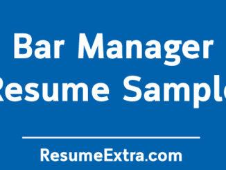 Bar Manager Resume Sample