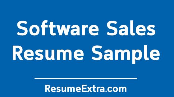 Software Sales Resume Sample