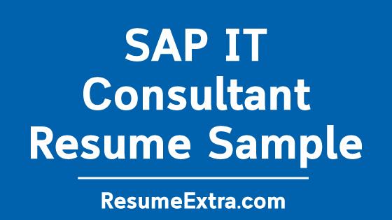 SAP IT Consultant Resume Sample