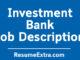 Investment Bank Job Description Sample