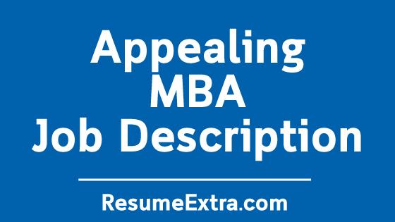 MBA Job Description Sample
