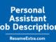 Personal Assistant Job Description Sample