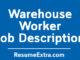 Warehouse Worker Job Description Sample
