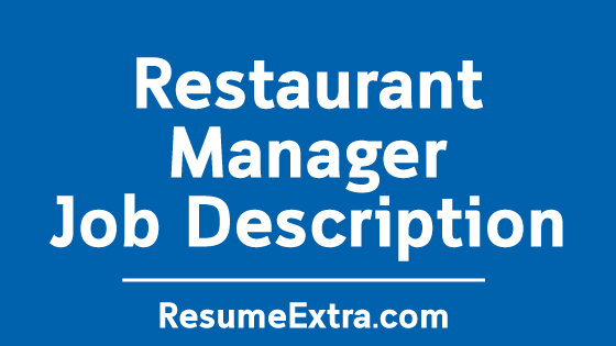 Restaurant Manager Job Description Sample