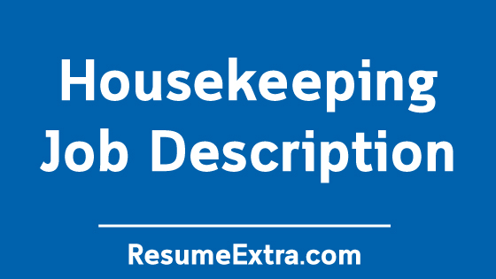 Housekeeping Job Description Sample