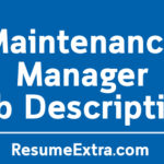 Maintenance Manager Job Description Sample