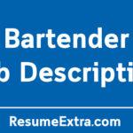 Bartender Job Description Sample