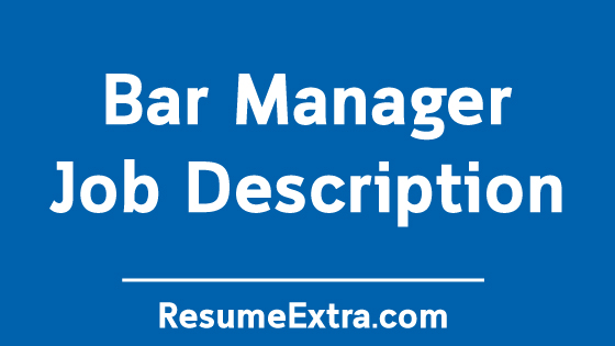 Bar Manager Job Description Sample