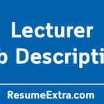 Lecturer Job Description Sample - Skills and Responsibilities